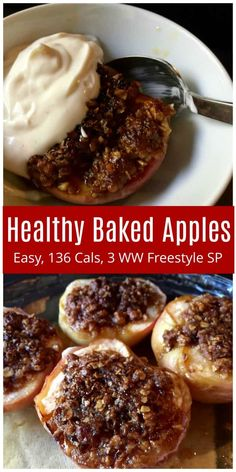 WW Freestyle Recipes: Easy Healthy Simple Baked Apples, Family Favorite, 136 calories, 2 or 3 WW SmartPoints depending on toppings used via healthy baking Healthy Baked Apples Ww Recipes, Fall Recipes, Gourmet Recipes, Baking Recipes, Dinner Recipes, Chicken Recipes, Recipies, Shrimp Recipes, Pork Recipes