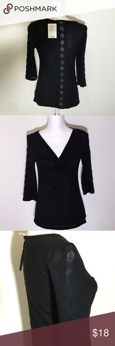 {Anthropologie} Deletta black shirt/top Brand new with tags! Size small.. Has lace detail on sleeves and back of the shirt.. Has a very small hole as seen in picture.. Anthropologie Tops Tees - Long Sleeve