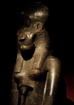 """Statue of the Goddess Sekhmet. Sekhmet's Name comes from the Ancient Egyptian word """"sekhem"""" which means """"powerful one."""" She was originally a Warrior Goddess as well as Goddess of Healing for Upper Egypt. Depicted as a Lioness, Sekhmet was seen as the Protector of the pharaohs and led them in warfare."""