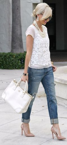 jeans, white accents, and nude heels.