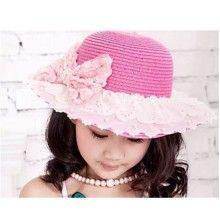 Kids lace bow straw beach hat fashion 2015 summer UV sun hat