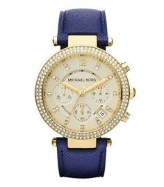 Reloj Michael Kors MK2280  Michael Kors de tamaño medio marino cuero Parker Cronógrafo Reloj Glitz