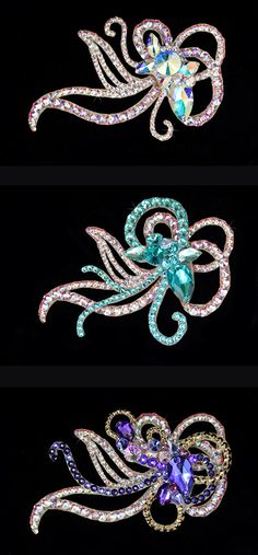 Hair accessory with interchangeable colour parts. Dancesport accessories. Ballroom hair accessory and ballroom jewelry made with Swarovski, available at www.tzafora.com © 2016 Tzafora. Handmade in Canada.