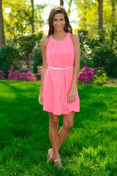 hot coral sleeveless shift dress with belt by red dress boutique
