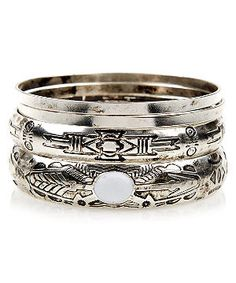White and Silver Aztec Bangle Stack