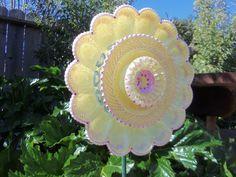 Garden Art  Glass Plate Flower Hand Painted in by sasafrasflowers, $50.00