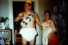 vintage new years baby | 1955 vintage photo 1950s Adult Baby New Year In Diaper 35MM slide 2