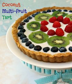 grain free, dairy free coconut multi-fruit tart