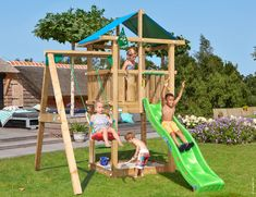 Are you looking for a wooden playhouse for kids? This is the Jungle Hut: a wooden playhouse with a unique roof and a fun swing. All other playhouse ideas are easily found online. Swing And Slide Set, Playhouse With Slide, Playhouse Outdoor, Wooden Playhouse, Playhouse Ideas, Garden Climbing Frames, Kids Climbing Frame, Playground Design, Backyard Playground