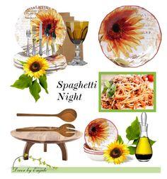 """Spaghetti Night"" by emjule ❤ liked on Polyvore featuring interior, interiors, interior design, home, home decor, interior decorating, Sur La Table, Mario Luca Giusti, Certified International and Artesano"