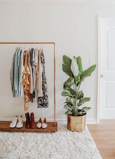 53 Ideas Master Bedroom Closet Organization Diy Walk In Clothes Diy Clothes Rack, Clothes Rail, Clothes Rack Bedroom, Metal Clothes Rack, Standing Clothes Rack, Hanging Clothes Racks, Closet Bedroom, Bedroom Decor, Wardrobe Closet