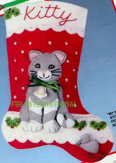 Bucilla ~ My Kittys Stocking ~ 10 Felt Christmas Stocking Kit This is a discontinued pattern designed by Joan Berg Victor so if you love it please make Merry Stockings, Vintage Christmas Stockings, Cute Stockings, Christmas Stocking Pattern, Felt Stocking, Felt Applique, Cat Crafts, Babies First Christmas, Felt Hearts