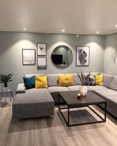 Personalize your home decoration with pretty digital printables. Classy Living Room, Living Room Modern, Living Room Sofa, Living Room Designs, Small Living, Mustard Living Rooms, Grey And Yellow Living Room, Salon Simple, Living Room Decor Inspiration