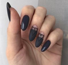 Nail art Christmas - the festive spirit on the nails. Over 70 creative ideas and tutorials - My Nails Minimalist Nails, Hair And Nails, My Nails, Fall Nails, Geometric Nail, Super Nails, Black Nails, Black Manicure, Perfect Nails