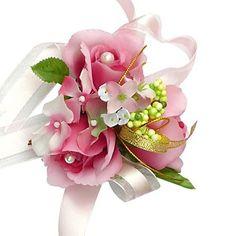 Elegant Fuchsia Silk Rose With Chiffon Decoration Wedding/ Bridal Wrist Flower