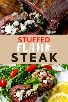 This Stuffed Flank Steak with Bacon, Spinach, and Feta is shockingly delicious! With just a handful of ingredients, these pinwheels are easy enough to make on a weeknight, but the presentation and taste is worthy of a special occasion. Try them once, and you will be hooked! Low Carb, Gluten Free & Keto. #flankstead #stuffedflanksteak #steakpinwheels #keto
