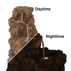 Sunnydaze Lighted Stone Springs Outdoor Water Fountain Garden Water Fountains, Stone Fountains, Rock Waterfall, Waterfall Fountain, Solar Powered Fountain Pump, Outdoor Waterfalls, Rock Fountain, Waterfall Features, Led Rope Lights