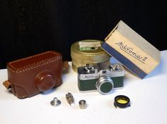 Midcentury MEOPTA Mikroma II spy camera 16mm film green leather + case and miscs #Meopta
