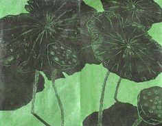 Three Lotuses - woodblock print - Ralph Kiggell, Asia / born 1960 U.K.