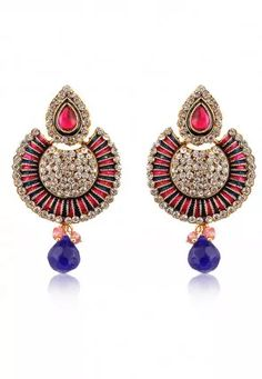 Stone Studded Earring in Pink and Blue