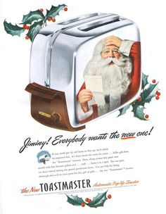 vintage christmas ads | Vintage Christmas Ads | SHINYKIOSK - Apparently everyone really wants one of these too. Looks like it's giving poor Santa a headache.