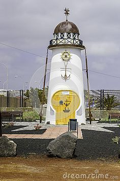 Old historic Lighthouse in Arrecife , Lanzarote island. Canary Islands , Spain.