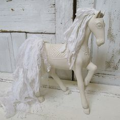 White wooden horse statue shabby French by AnitaSperoDesign