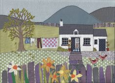 Fabric art work A4 print of 'Washing Day'. Textile picture of Welsh cottage with mountain background, chickens, slate fence and daffodils.