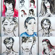 Band of Outsiders  - ink portraits by Lizzie Reakes