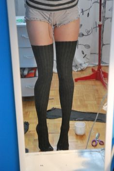 custom, DIY thigh-high socks from stretch fabric - these are for Mami Tomoe cosplay