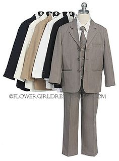 Cheaper than the rentals!  You receive 5 pieces including: Fully Lined Jacket, Pants, Long sleeved shirt, vest and cute tie.  Instantly turns any wild child into a handsome young prince!