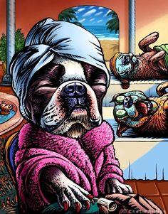 "Dog Spa- 8"" x 10"" Boston Terrier Art Print- Whimsical Dog At The Spa Wall Decor"