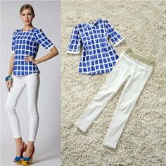 blue womens pants with white shirt - Google Search