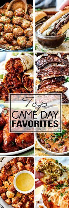 Top Game Day Recipe Favorites from dips to meatballs and from appetizers to main dishes! You are guaranteed to find some of the BEST football party recipes right here! And even if you aren't into football, you are guaranteed to find some of the best par Game Day Appetizers, Game Day Snacks, Game Day Food, Appetizer Recipes, Tailgating Recipes, Tailgate Food, Grilling Recipes, Barbecue Recipes, Barbecue Sauce