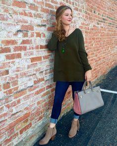 Green target sweater. Skinny jeans. Tassel booties- Vince Camuto. Kendra Scott jewelry. Kate spade handbag.