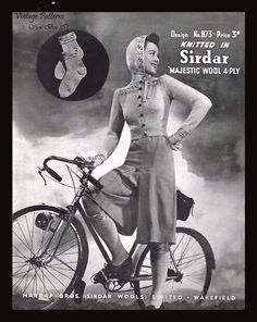 Sirdar 1940s Knitting Pattern Fair Isle Cardigan Socks Hood Gloves PDF WWII WW2 #Sirdar