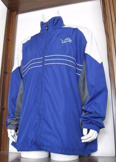 XXL Mens Reebok S.I. Detroit Lions Full Zip Windbreaker Jacket Blue 2xl EUC #Reebok #DetroitLions
