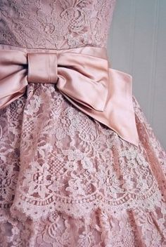 pink lace dress with satin bow