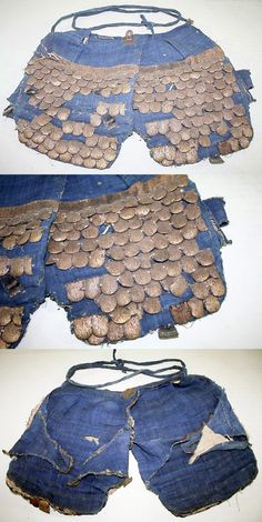 Antique samurai gyorin haidate (fish type scale thigh armor).  samuraiantiqueworld.com