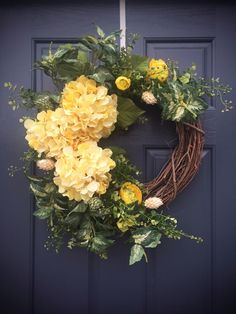 by WreathsByRebeccaB on Etsy Spring Door Wreaths, Summer Wreath, Wreaths For Front Door, Holiday Wreaths, Hydrangea Wreath, Floral Wreath, Diy Wreath, Grapevine Wreath, Gardens