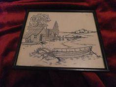 Lovely Hand Sewn Embroidered Landscape Picture Framed Vintage   eBay