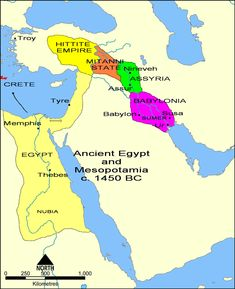 Overview map of the Ancient Near East in the 15th century BC (Middle Assyrian period), showing the core territory of Assyria with its two major cities Assur and Nineveh wedged between Babylonia downstream (to the south-east) and the states of Mitanni and Hatti upstream (to the north-west).