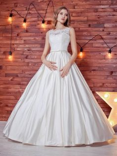 Ball Gown Scoop Neck Satin Lace Floor-length Sashes / Ribbons Noble Wedding Dresses #DGD00022784