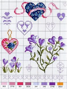 Flowers and hearts #cross-stitch