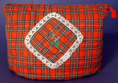 Tea Cozy Scottish Red Tartan Padded Thistle Heather Vintage 1950s
