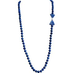 Vintage Lapis Lazuli 14k Cultured Pearl Lapis Lazuli Bow Necklace 32.5 Inches Length