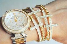 Gold Pave Crystal Sideways Cross Bracelet