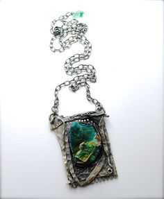 Sterling Silver Necklace Chrysocolla Rough Specimen by joykruse