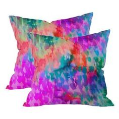 """Set of two throw pillows from DENY Designs.  Product: PillowConstruction Material: Woven polyesterColor: MultiFeatures:  Resistant to water and mildewSuitable for indoor and outdoor useSewn closureInsert includedDesigned by Amy Sia for DENY Designs Dimensions: 16"""" x 16""""Cleaning and Care: Spot treat with mild detergent"""