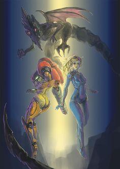Epic Metroid Art by GoSyuJiN. via: http://www.pixiv.net/member_illust.php?mode=medium&illust_id=50436447